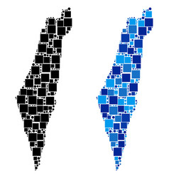 Dot israel map with blue version vector
