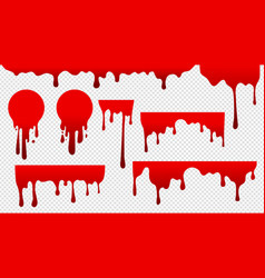 Dripping blood red stain paint flow drops fluid vector