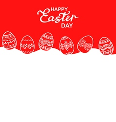 Easter eggs back red vector