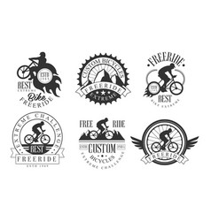 Extreme freeride retro logo templates set vector