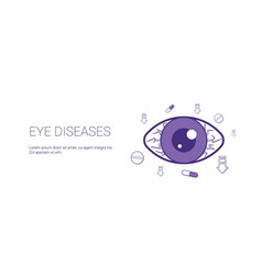 eye diseases web banner with copy space health vector image