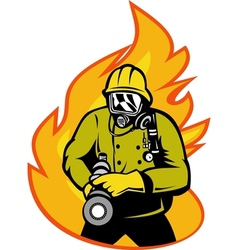 Fireman or firefighter with fire hose vector