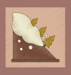 Flat shading style icon snow avalanche spruce vector