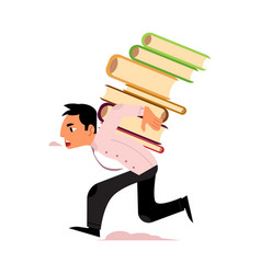 Flat stressed exhausted man carrying books vector
