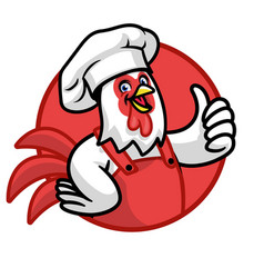 funny chef chicken mascot vector image