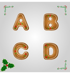 Gingerbread font a to d vector image
