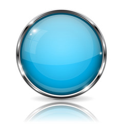 glass blue button with chrome frame round 3d vector image
