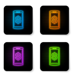 glowing neon smartphone with dollar symbol icon vector image