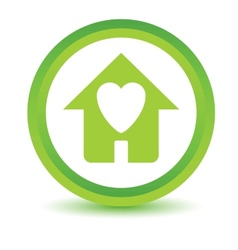 Green Love house icon vector