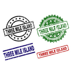 Grunge textured three mile island seal stamps vector
