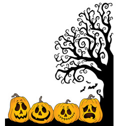 Halloween tree half silhouette theme 2 vector