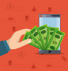 hand depositing bill on smartphone for online vector image