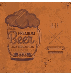 Hand drawn grunge beer background vector image