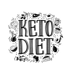 hand drawn text keto diet with foods vector image