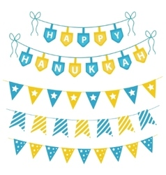 Hanukkah set garlands ribbons Hanukkah set for a vector image