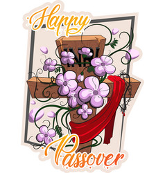 happy passover cross with flowers vector image