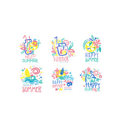 Hello happy summer original design labels vector