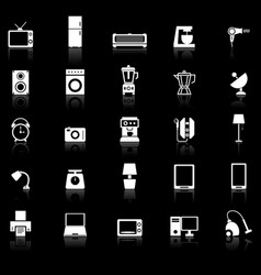 Household icons with reflect on black background vector