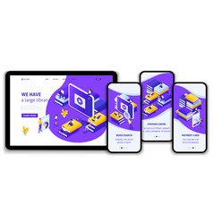 Isometric concept for e-learning education vector