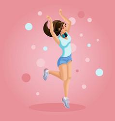 isometrics girl listens to music jumps teenager vector image