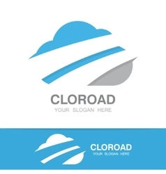 Logo combination of a cloud and road vector