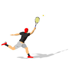 Man tennis player in action colored vector