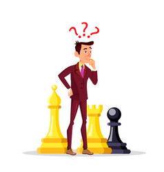 manager standing among large chess pieces with vector image