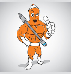muscle character with pen vector image
