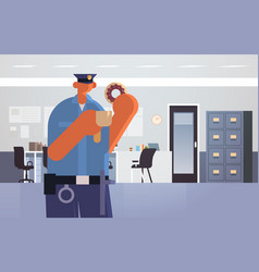Officer with donuts and coffee policeman vector
