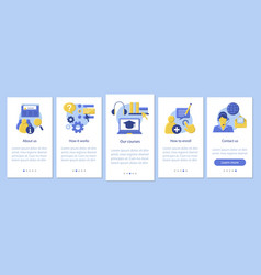 Online courses mobile app page screen template vector
