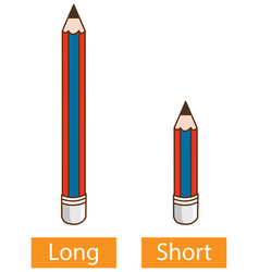 Opposite adjective words with long pencil vector