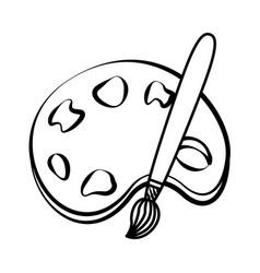 palette paintbrush doodle vector image