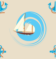 pattern 0103 sailing ship wave and an anchor vector image