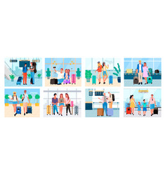 people traveling together couples and family vector image