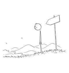 person walking on path looking at road vector image