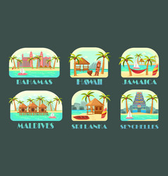 posters for ocean travel at exotic places vector image