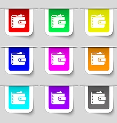 Purse icon sign Set of multicolored modern labels vector image