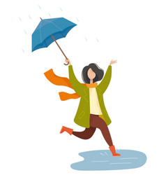 Rainy weather in autumn park umbrella vector
