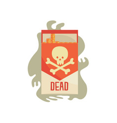 Red pack of cigarettes with skull bad habit vector