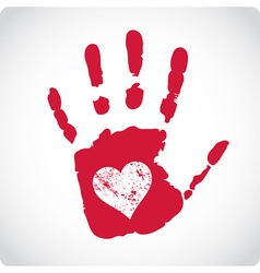 Romantic Valentine postcard with handprints vector