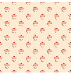 Seamless pattern little cherry cupcake background vector