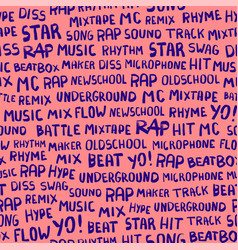 seamless pattern with words on the rapper theme vector image