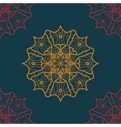 Seamless Print in Oriental Style on deep blue vector
