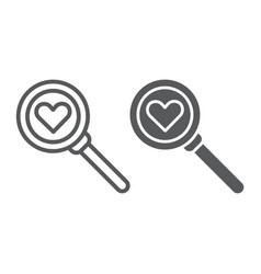 searching for love line and glyph icon amour and vector image
