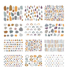 Set hand drawn scribbles with brush strokes vector