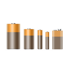 Set of alkaline batteries of different size vector