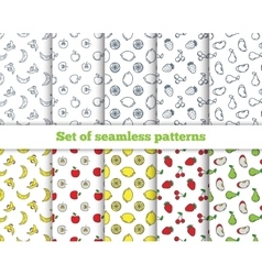 Set of seamless patterns line icons fruit vector image