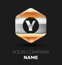 Silver letter y logo in silver-golden hexagonal vector