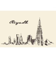 Sketch of Riyadh skyline drawn vector