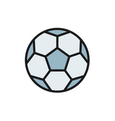 soccer ball flat color icon isolated on white vector image
